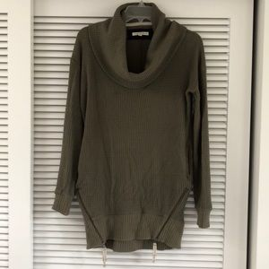 Cowl Neck Cocoon Sweater with Side Zips
